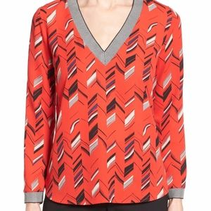 Halogen Rib Trim Chevron Print Top Blouse NWT